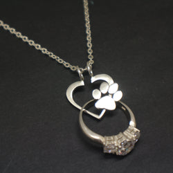 Paw Print Ring Holder Necklace