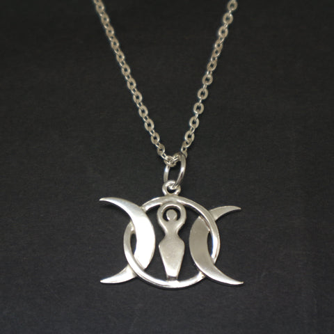 Silver Goddess Moon Necklace Pendant
