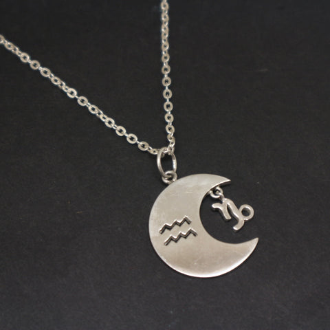 Zodiac and Moon Necklace Pendant