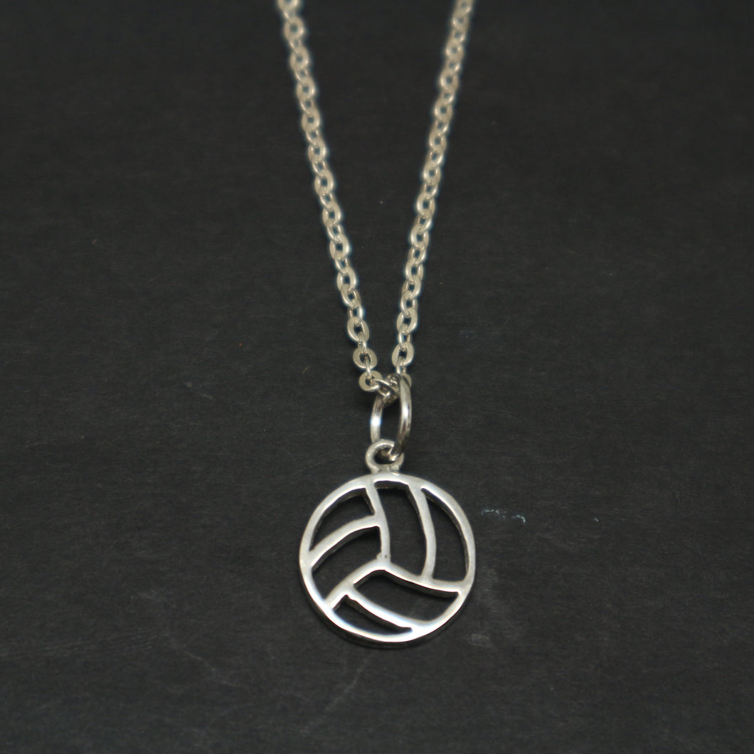 Silver Volleyball Necklace