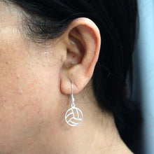 Load image into Gallery viewer, Silver Volleyball Earring