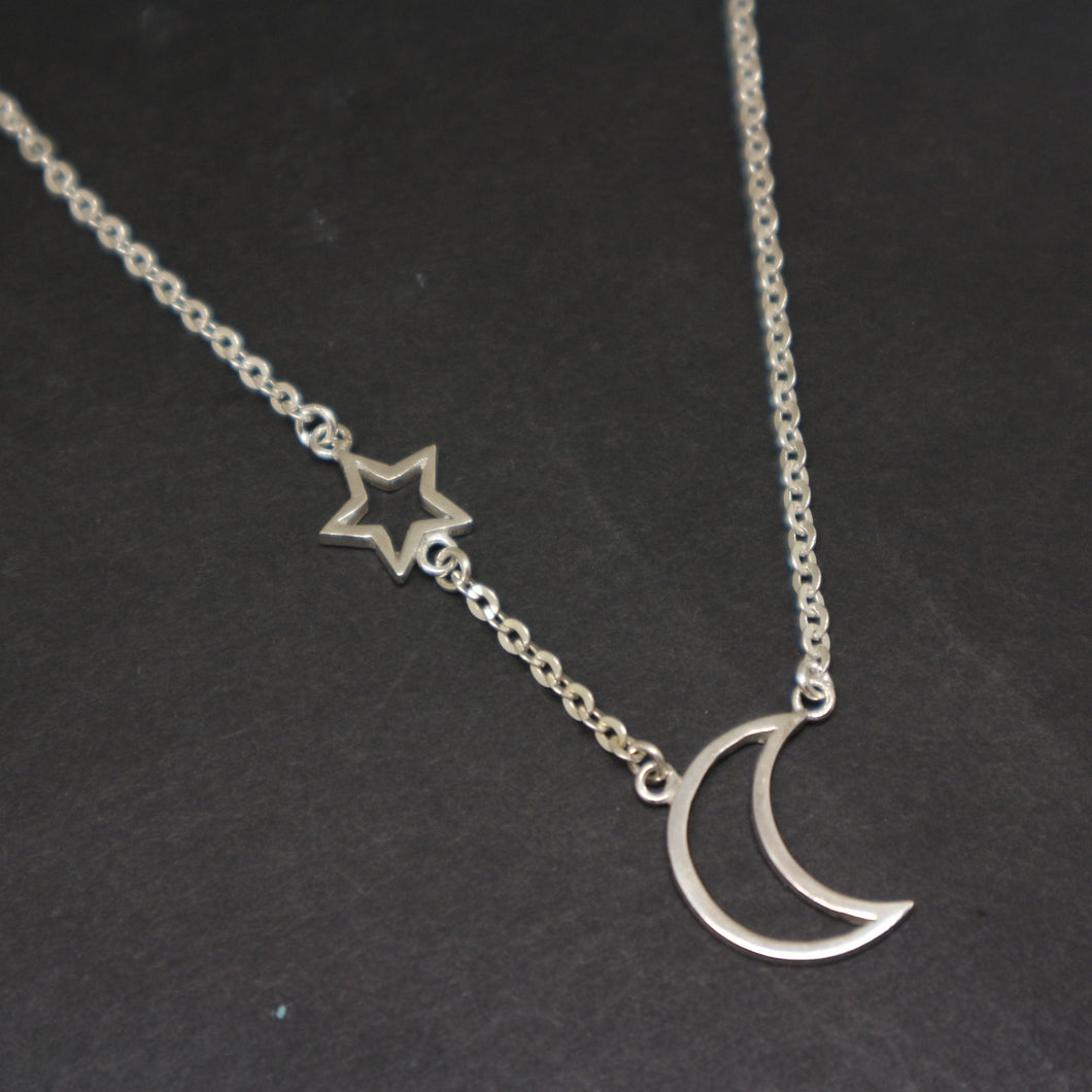 Crescent Moon and Star Chain Necklace