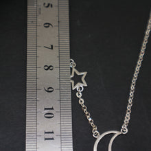 Load image into Gallery viewer, Crescent Moon and Star Chain Necklace