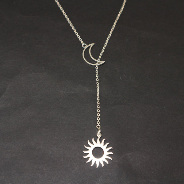Crescent Moon Sun Lariat Y Necklace