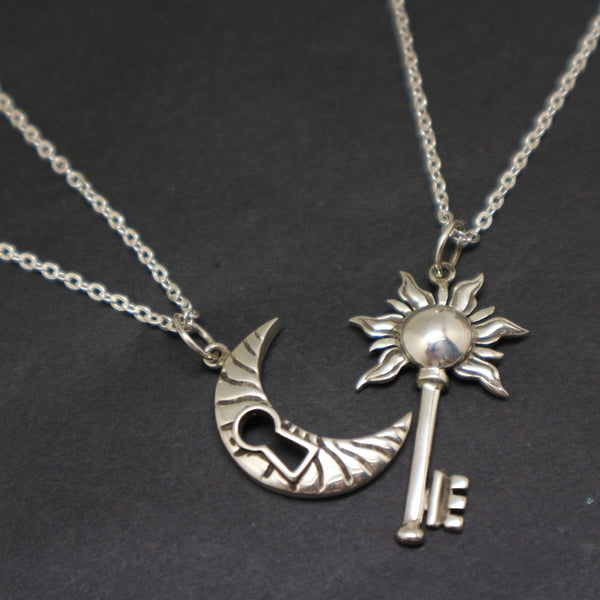Bohemian Moon Sun Key Couple Necklace