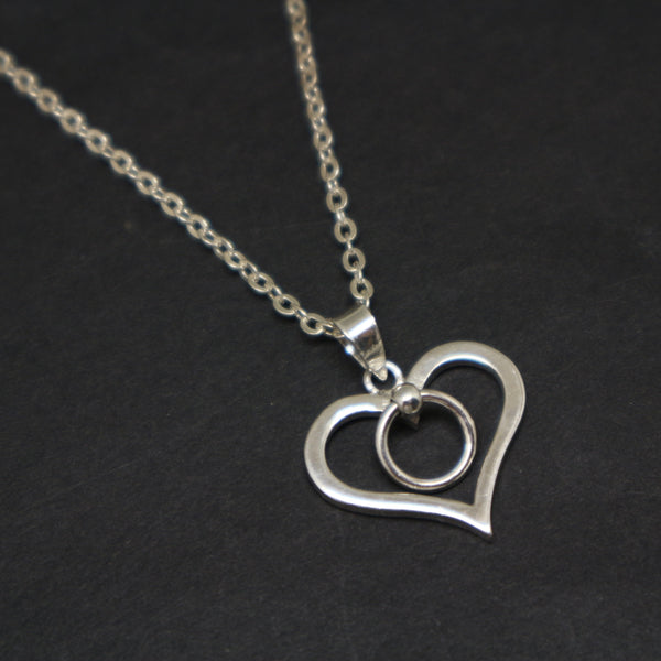Silver Ring of O Heart Bdsm Necklace Pendant