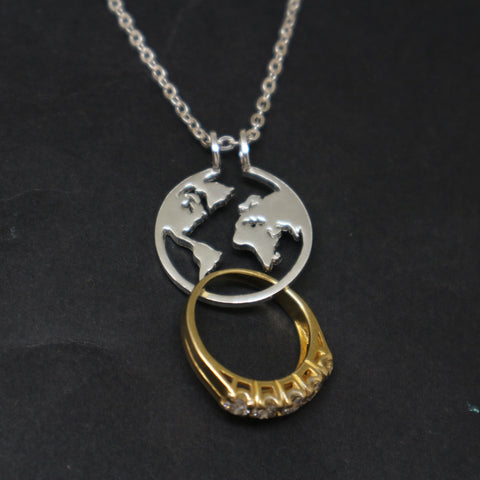 World Map Ring Holder Necklace