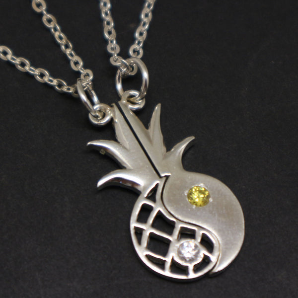 Pineapple Yin Yang Couple Necklaces Set