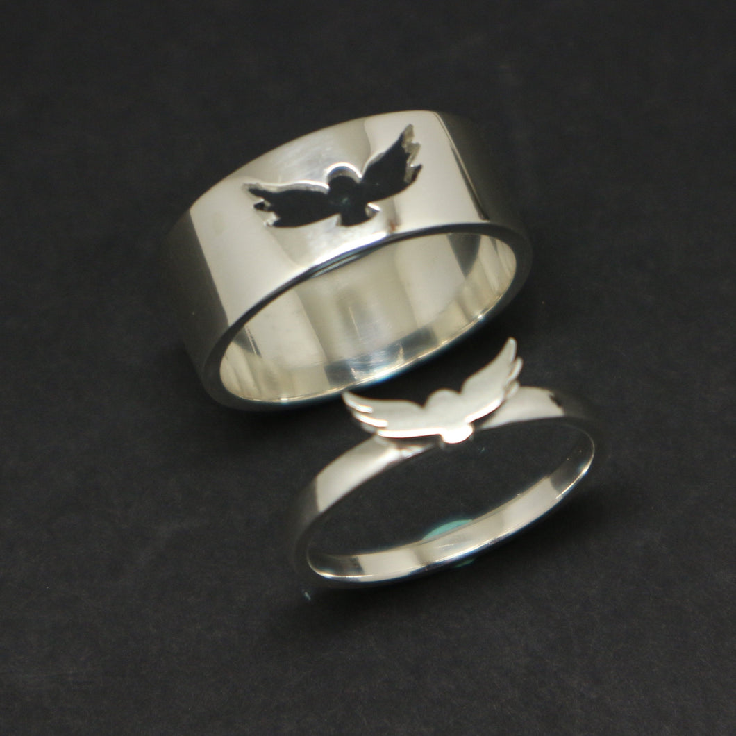 Silver Owl Promise Ring for Couples
