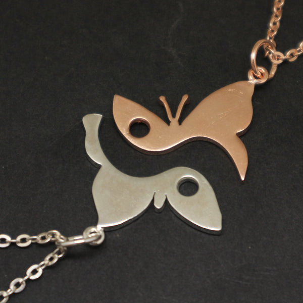 Silver Butterfly Couple Necklaces Set