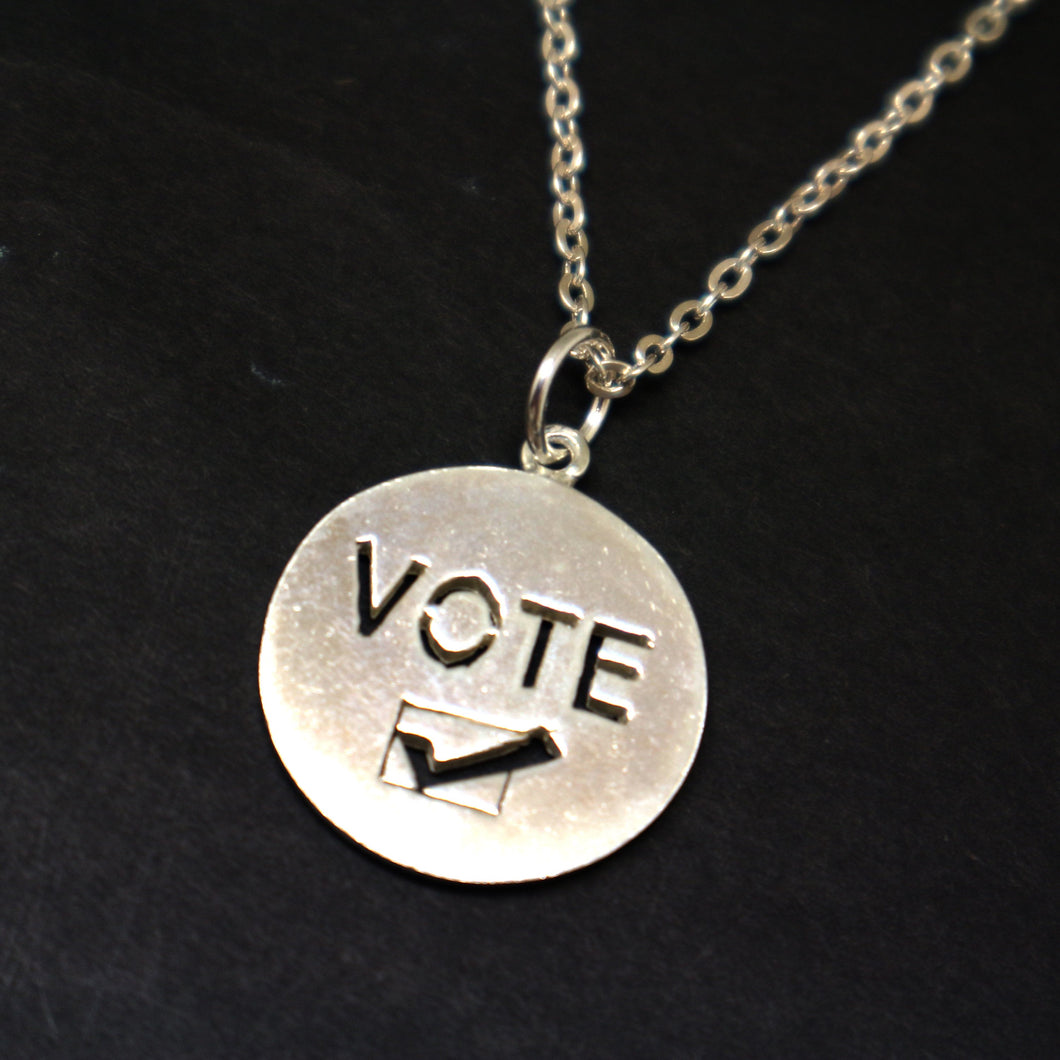 Silver Vote Necklace Pendant