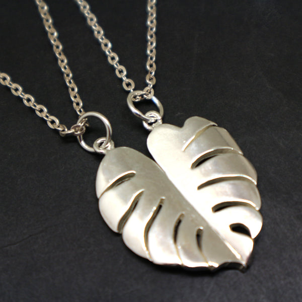 Monstera Leaf Couple Necklace