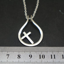 Load image into Gallery viewer, Silver Cross Ring Holder Necklace