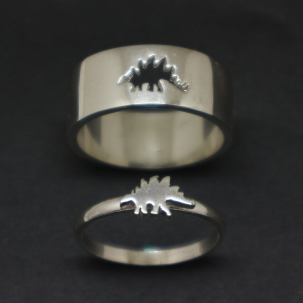 Stegosaurus Dinosaur Promise Ring for Couples