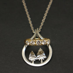 Silver Pine Tree Ring Holder Necklace