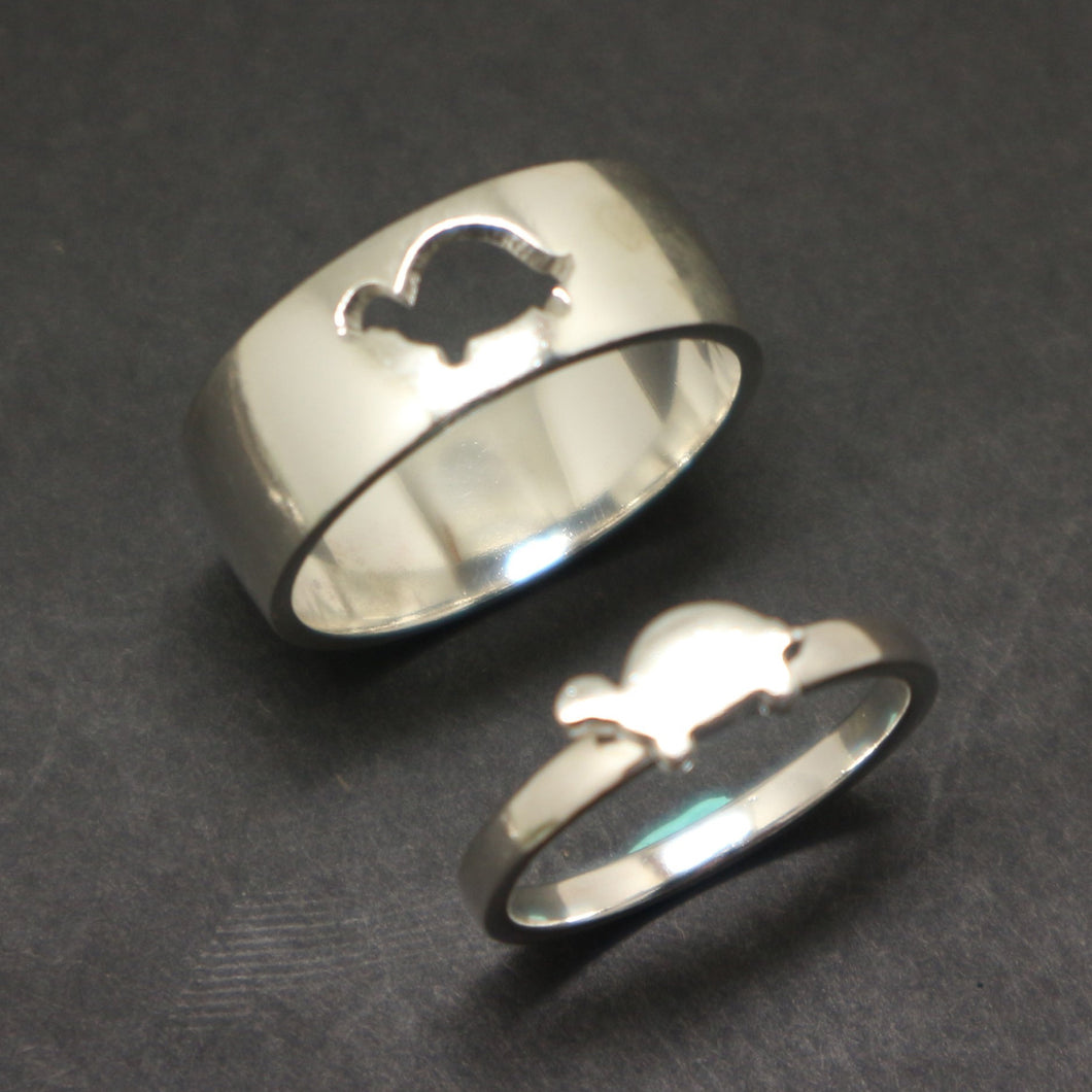 Turtle Dinosaur Promise Ring for Couples