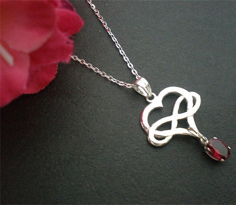 Silver Infinity Heart Polyamory Necklace