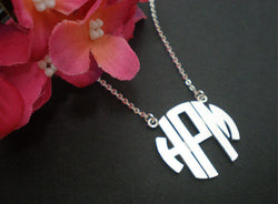 Circle Monogram 3 Initials Necklace