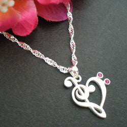 Music Note Necklace in Silver