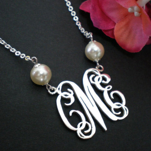 Personalized Large Monogram Necklace Silver