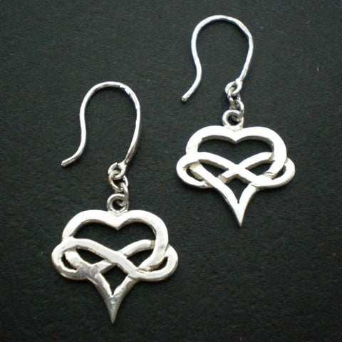 Silver Polyamory Heart Infinity Earring