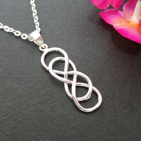 Double Infinity Knot Silver Necklace