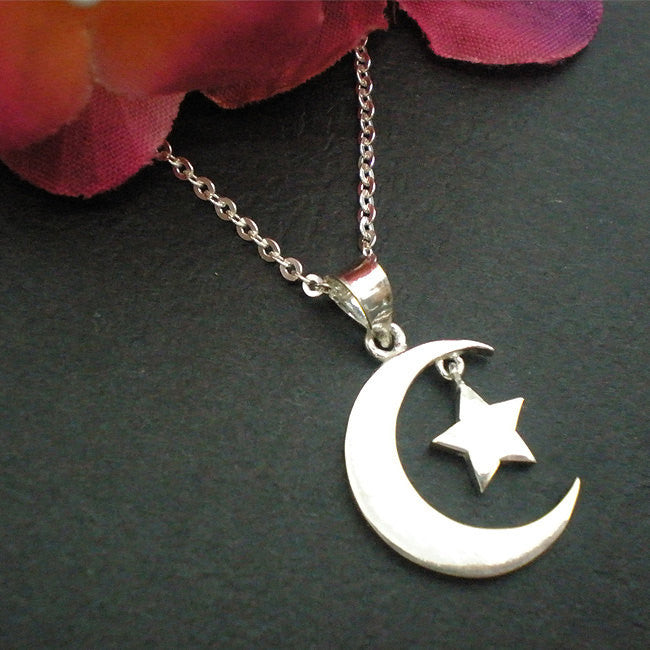 Sterling Silver Half Moon Star Pendant Necklace