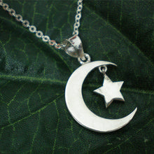 Load image into Gallery viewer, Sterling Silver Half Moon Star Pendant Necklace