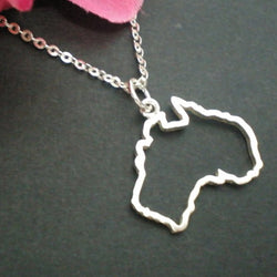 Silver Outline Australia Map Necklace