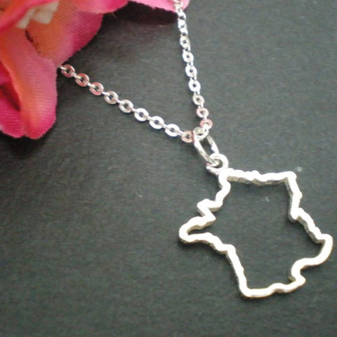 Silver France Country Map Necklace