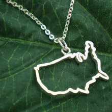 Load image into Gallery viewer, Silver Outline United States Map Necklace