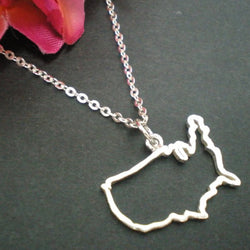 Silver Outline United States Map Necklace
