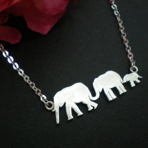 Silver Mother and Child Elephant Necklace