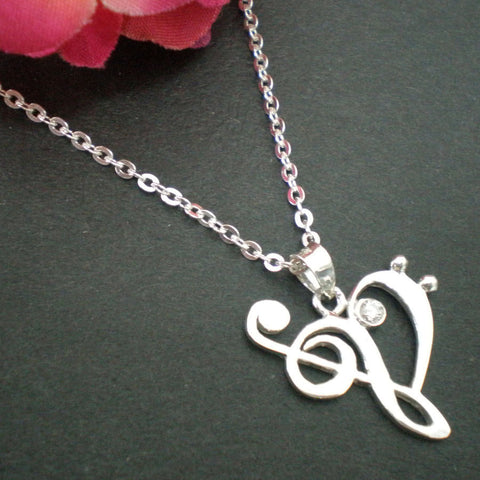 Treble and Bass Clef Heart Necklace