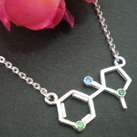 Nicotine Molecule Silver Necklace