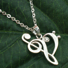 Load image into Gallery viewer, Treble and Bass Clef Heart Necklace