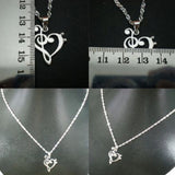 Silver Music Note Heart Necklace