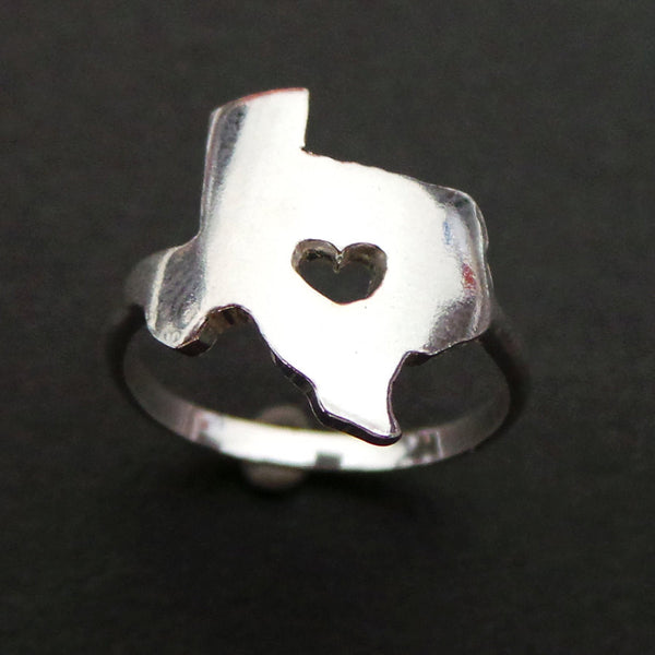 Texas State Ring with Heart