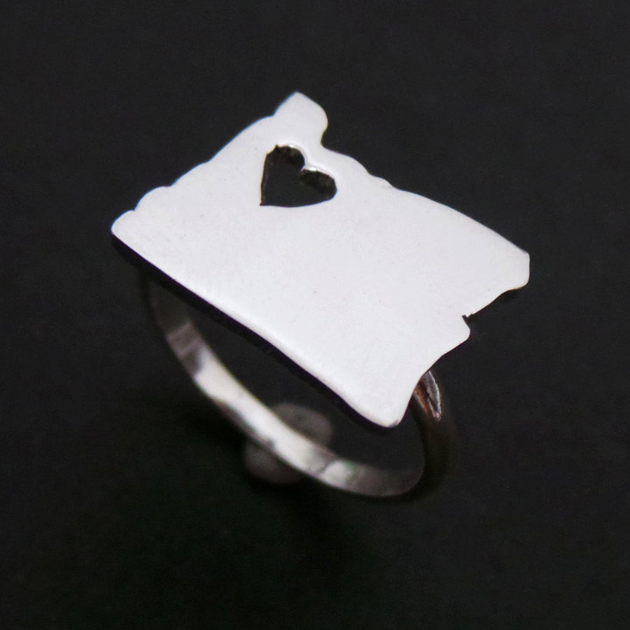Silver Oregon State Heart Ring