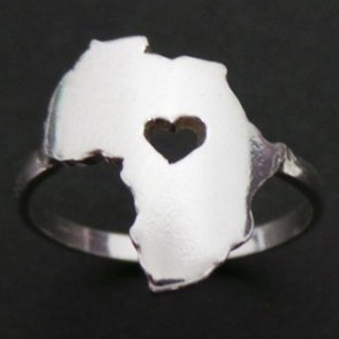 Silver Africa Heart Ring
