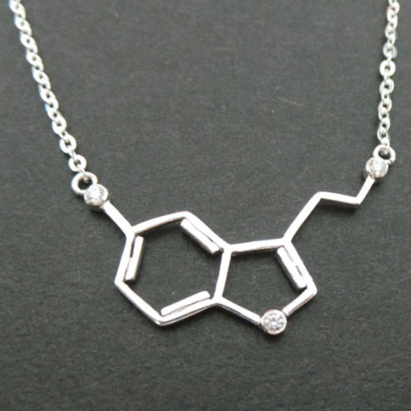 Silver Serotonin Molecule Clear Cz Stone Necklace