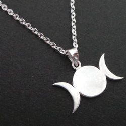 Silver Triple Goddess Moon Necklace