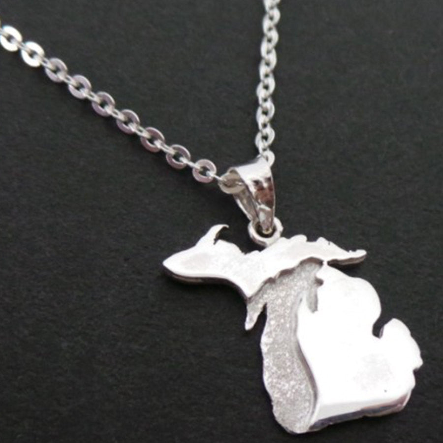Silver Great Lakes Michigan State Necklace