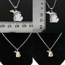 Load image into Gallery viewer, Silver Great Lakes Michigan State Necklace