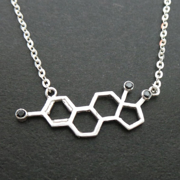 Silver Estrogen Molecule Necklace