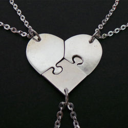 Three Sister Heart Puzzle Necklace