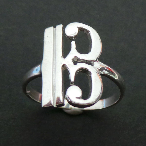 Alto Clef Music Note Silver Ring