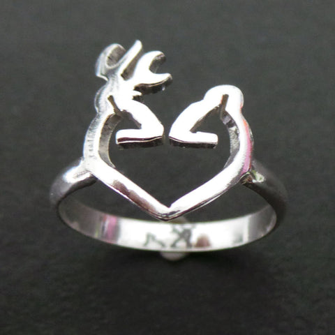 Heart Love Deer Head Antler Ring