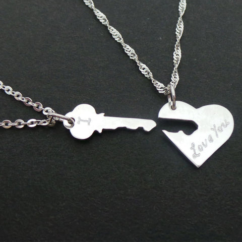 SIlver Key and heart necklaces for couples