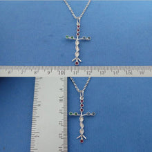 Load image into Gallery viewer, Silver Laminin Cross Necklace